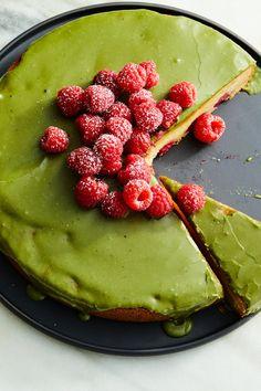Raspberry-Mochi Butter Cake With Matcha Glaze
