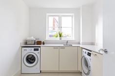 Laundry room with great natural light Open Plan Kitchen, Natural Light, Laundry Room, Home Appliances, House Appliances, Laundry Rooms, Kitchen Appliances, Kitchen Corner, Laundry