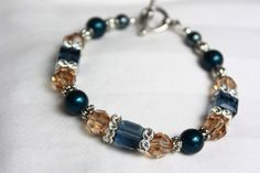 Blue Brown Swarovski Crystals Bracelet Blue Brown by PearlTwinkle