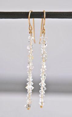 Herkimer Diamond Gold Bar Earrings by NohoLife