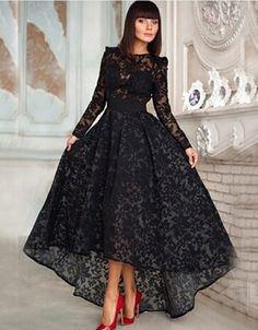 High Low Long Sleeve Prom Dresses