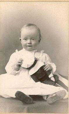 Vintage Photo - Baby with a doll