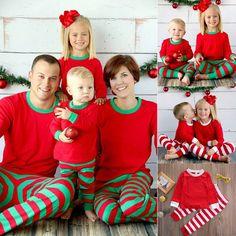 Cute Christmas Kids Adult Family Pajamas Set Striped Sleepwear Nightwear  Costume cbb0d1e37