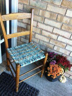Homespun and burlap woven chair tutorial