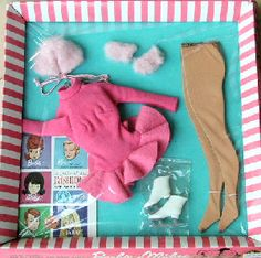 Vintage Barbie Skater's Waltz #1629 (1965-1966)     Pink Skating Dress  Pink Fleece Collar  Pink Fleece Mittens  Flesh tone Pantyhose  White Skates    This is Barbie's 1600 series Skating Ensemble, and like most 1600 outfits, is highly desired by collectors and can be hard to find, especially the light pink fleece collar and mittens.    The Skating Dress is a Pink Leotard with an attached pink felt circle skirt.  The knit in the leotard and pantyhose can be prone to snags and runs.