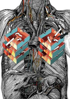 """""""...motive for this series of illustrations, """"Body"""", is to show the complex and interesting structure of a human body. When dealing with humans as a theme, I believe that their physical features are more intriguing than the psychological."""""""