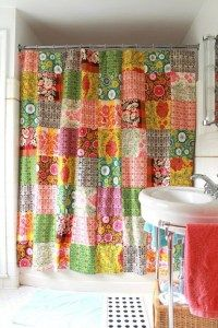 Shower curtain from fabric scraps.   I like this idea... would be fun to make ....