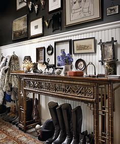 console-foyer-black-walls-decorating-ideas-riding-boots-art-gallery-decor-english-jayson-home
