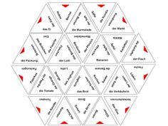 Tangram-Spiel. Wortschatz: einkaufen, Lebensmittel