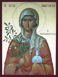 Anastasia of Sirmium (Farmakolytria) by logIcon on DeviantArt Byzantine Icons, Byzantine Art, Santa Anastasia, Russian Icons, Orthodox Christianity, Art Icon, Orthodox Icons, Sacred Art, Religious Art