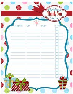 Printable Christmas Thank You Note Organizer