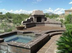 Outdoor fireplace pictures on pinterest outdoor for Open yard landscaping ideas