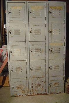 Vintage Industrial Metal School Lockers