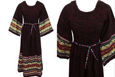 Guatemalan Embroidered Kaftan Dress, Boho Hippie Ethnic Bell Sleeve Maxi Tunic Dress, Cotton Folk Bohemian Abaya Braid Trim Maxi Dress by HolyCatsVintage on Etsy Boho Hippie, Hippie Style, Bohemian, Maxi Kaftan, Kaftan Style, Boho Festival, Maxi Dresses, Boho Dress, Braid