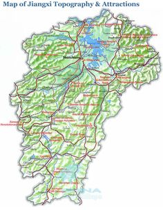 Map of Jiangxi Topography & Attractions
