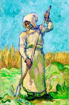 Vincent Van Gogh, Peasant Woman with a Rake, after Millet, 1889, private collection, source
