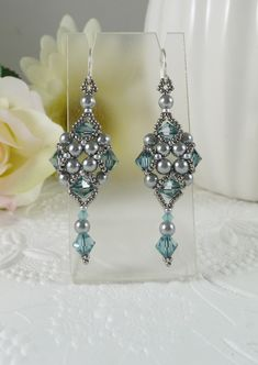 Woven Silver Grey Dangle Earrings with Swarovski Crystal