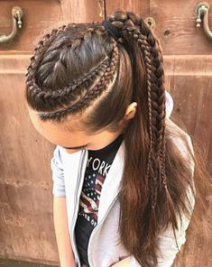 Combo of lace braids and a French braid back into a high rockstar ponytail - Hairstyles For All Cornrow Hairstyles White, Cool Braid Hairstyles, Little Girl Hairstyles, Female Hairstyles, Dreadlock Hairstyles, School Hairstyles, Everyday Hairstyles, Prom Hairstyles, Hair Style Girl Image