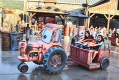 Come on down to Mater's Junkyard Jamboree for a tow-tappin' square dance hosted by Mater from the Disney·Pixar movie Cars. Board a trailer pulled by an adorable little tractor and swing in time to lively music sung by, you guessed it, Mater! Cars Land Disneyland, Disneyland World, Disneyland Resort, Disney California Adventure Park, Disneyland California, Adventure Car, Radiator Springs, Disney Pixar Movies, Cool Mom Picks