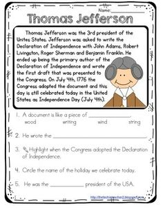 This reading passage covers the basic and most important information about Thomas Jefferson. Five comprehension questions are included.If you are in interested in more, check out my: Famous American Reading Passages Pack 3rd Grade Social Studies, Social Studies Worksheets, Teaching Social Studies, American History Lessons, History For Kids, Study History, Reading Passages, Reading Comprehension, Comprehension Questions