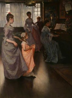 The Minuet (1892).Elizabeth Adela Stanhope Forbes (Canadian/English, 1859-1912). Oilon canvas.Penlee House Gallery  Museum. An established professional artist by 1885, she settled in Newlyn, England, where she met and married the painter Stanhope Alexander Forbes. Together they opened the Newlyn Art School in 1899, teaching artists to paint from nature. Despite being a cofounder of the school, she struggled against the perception that women should not work outside of the home…