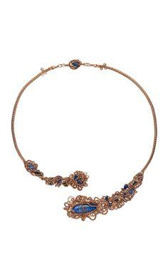 Jewelry Design - Single-Strand Necklace with Wirework, Lapis Lazuli Gemstone Beads and Cabochon and Sodalite Gemstone Beads - Fire Mountain Gems and Beads