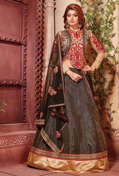 Black And Red Art Silk Circular Lehenga Choli #wedding #weddingwear #stylish Trendy #silk #partywear #lehenga #lengha #onlinelehenga #lenghaonline #punjabighaghra #WomenClothing #WomenWear #stylishlehenga #lehengacholi #indowesternlehengacholi #circular #fishcut #mermaid #nikvik #usa #designer #australia #canada #malaysia #UAE #freeshipping price-US$142.97.Sign up and get USD100 worth vouchers.