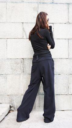 dc96a1754d Loose Cotton Black Pants   Wide Leg Pants Autumn Extravagant Collection  HandMade by Aakasha A05557