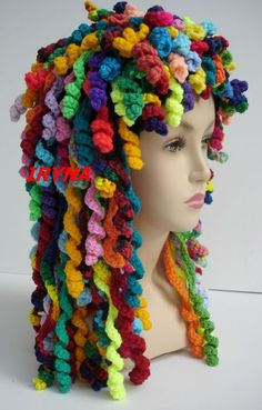 Too Many Hats. Darn, no pattern but I think you could just add the corkscrew curls to just about any single crochet hat pattern.Darn, no pattern but I think you could just add the corkscrew curls to just about any single crochet hat pattern. Crochet Crafts, Yarn Crafts, Knit Crochet, Crochet Hair, Crochet Wigs, Funny Crochet, Spiral Crochet, Rainbow Crochet, Crochet Needles