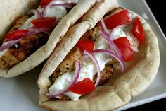 Chicken Gyros with Garlicky Cucumber Tzatsiki by annieseats as adapted from Elly Says Opa #Healthy #Chicken #Gyros #Tsatsiki #annieseats