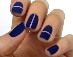 Blue gel nails - Uñas de gel diseño azul