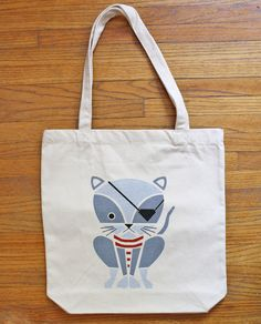 Pirate Kitty Screenprinted Tote Bag
