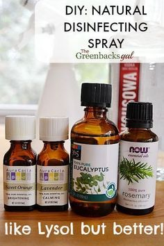A DIY Natural Disinfecting Spray that works like Lysol but smells soooo much better thanks to essential oils.