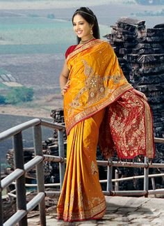Pretty Orangish Yellow Pure Silk Saree