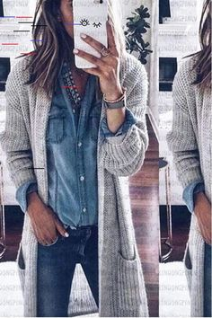 Apr 2020 - The loose double-pocket knit cardigan is so fashionable asnd it is a good and soft, you will love it. Older Women Fashion, Fashion For Women Over 40, Womens Fashion For Work, Oversized Cardigan, Knit Cardigan, Casual Fashion Trends, Women's Fashion, Fashion Outfits, Girl Outfits