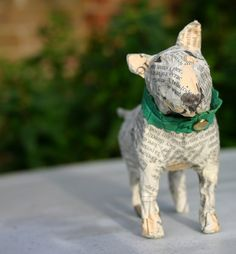 Sweet Small Papier Maché Bull Terrier with green Collar of the softest Moroccan Leather