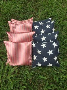 Spring has sprung and Summer is coming! You know what that means? Hot grills, cold beers, and outdoor games with friends and family. Dont get caught with low quality cornhole bags at your next gathering.  Set of 8, Cornhole Bags, 4 stars & 4 Stripes.  Add a convenient zippered carry bag to your order too! Add a little Patriotism to your yard games! These ACA/ACO compliant corn bags are the perfect addition to your Cornhole set. Constructed of 100% Cotton Canvas, Double stitched, and ...