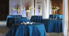 Curly willow, hydrangea, and calla lilly centerpieces, draping, lighting, and peacock accordian linens by: South Carolina Wedding Co www.southcarolinaweddingco.com