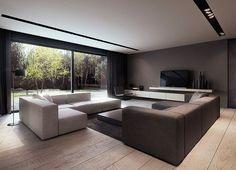 y-house interior design, pabianice. Para dF, quer o piso quer o layout de sofás... talvez simétrico na sala