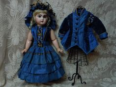 Gorgeous pure Silk Dress Jacket Hat french Bebe Couturier Costume for Jumeau Steiner Bru doll
