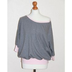 Grey marl pink organic cotton jersey slouchy dolman 3/4 sleeve top (65,425 KRW) ❤ liked on Polyvore featuring tops, oversized jersey top, pink top, pink jersey, batwing top and oversized tops