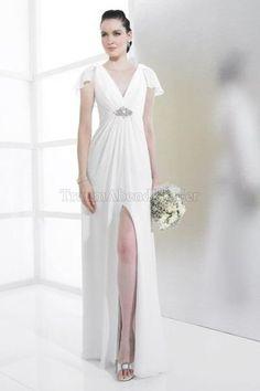Reißverschluss V-Ausschnitt bodenlanges schlichtes Brautkleid