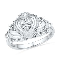 1/6 CT. T.W. Diamond Claddagh Ring in Sterling Silver