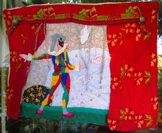 Arte tessile - Teatrino Commedia dell'Arte - Arlecchino e Colombina di StrassiColorai su Etsy