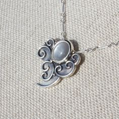 Air Elemental Necklace Hand-forged in Argentium Silver with Silver Moonstone