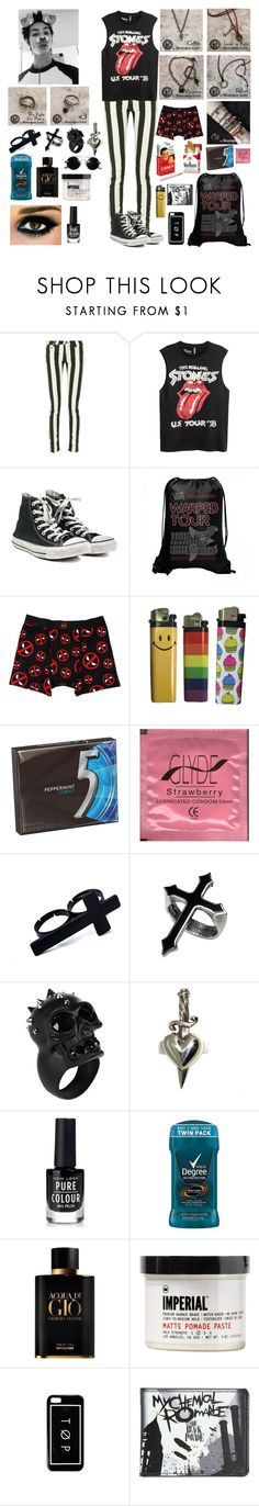 """""""Remington Leith"""" by whengaypigsfly ❤ liked on Polyvore featuring Off-White, Converse, Marvel, Alexander McQueen, Metal Couture, New Look, Giorgio Armani, Imperial Barber Products, Hot Topic and men's fashion"""