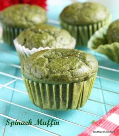 Spinach Muffin, a delicious and healthy muffins made from the spinach. Almost a year back, i had tried this recipe from pailin& kitchen fo. Healthy Savoury Muffins, Spinach Muffins, Veggie Muffins, Healthy Carrot Cakes, Protein Muffins, Eggless Recipes, Baking Recipes, Dessert Recipes, Desserts