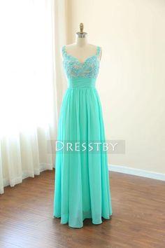 Green A-line v neck chiffon lace long prom dress, bridesmaid dress