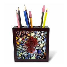 DYLAN SEIBOLD - PHOTOGRAPHY - SEAWEED ON PEBBLES - Tile Pen Holders #homedecor #gifts by 3dRose LLC  Link: