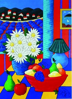 """Provence Still Life"" (unframed: 14 x 10 inches) US$39 by Joanne Netting  available wholesale, worldwide (free shipping), from the artist; email: jnetting2@bigpond.com. This is a limited edition signed mini print reproduced from an original acrylic on canvas painting. © Joanne Netting 1993. #art"